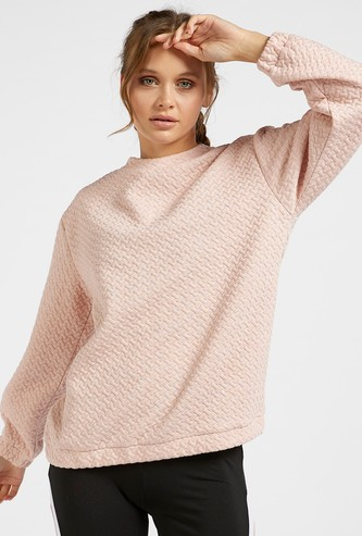 Quilted Activewear Sweat Top with Long Sleeves