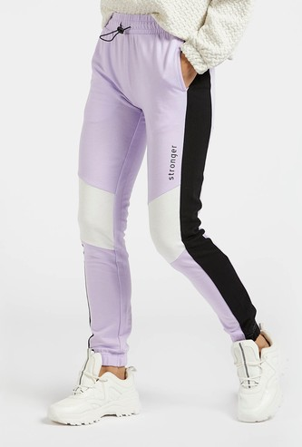 Colourblock Joggers with Pockets and Elasticated Drawstring Waist