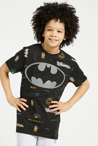 All-Over Batman Graphic Print T-shirt with Short Sleeves