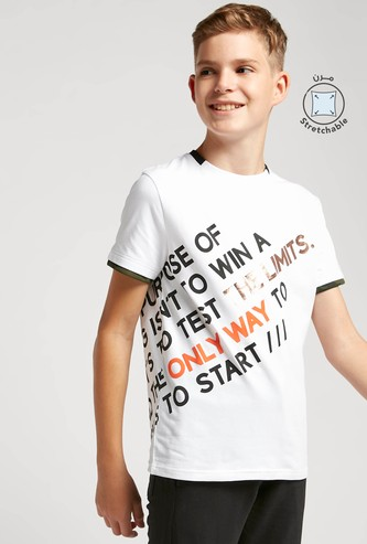 Typographic Print Crew Neck T-shirt with Short Sleeves