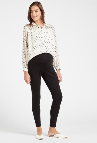 Solid Knit Mid-Rise Maternity Leggings with Elasticised Waistband