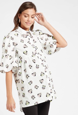 All-Over Minnie Mouse Print Maternity Tunic with Short Sleeves
