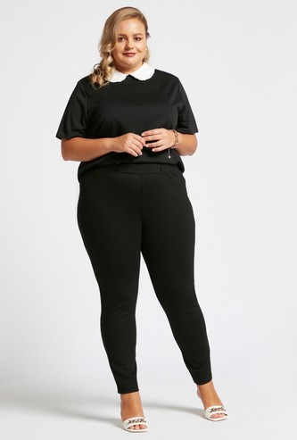 Solid Ponte Leggings with Button Detail and Elasticised Waistband