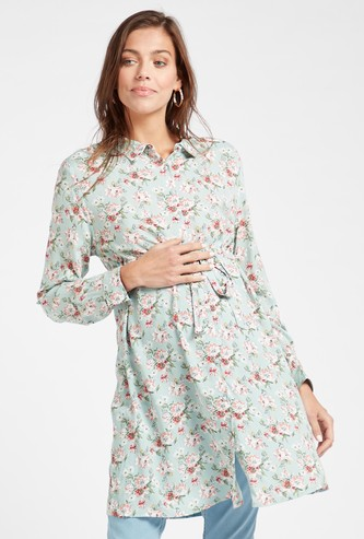 All-Over Floral Print Maternity Tunic with Long Sleeves and Tie-Ups