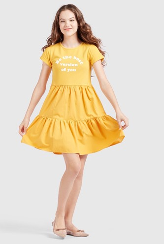 Printed Tiered Dress with Cap Sleeves and Round Neck