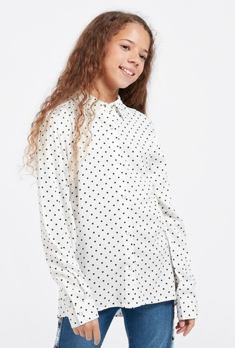 Polka Dots Print Shirt with Long Sleeves and Complete Placket
