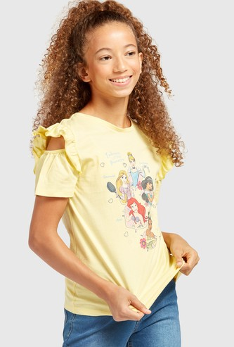 Princess Squad Print Cold Shoulder T-shirt with Ruffle Detail