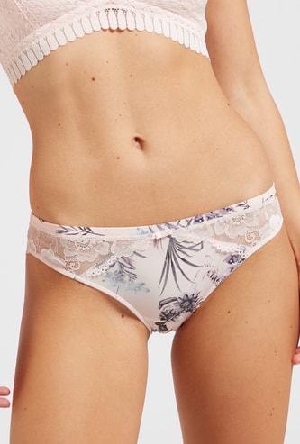 Printed Bikini Briefs with Elasticated Waist