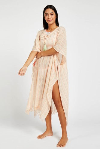 Striped Kaftan with Tie-Ups and Tassel Detail