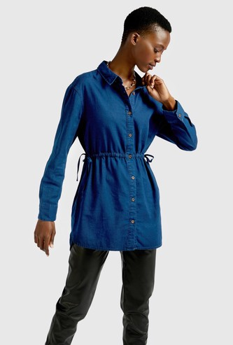 Solid Collared Tunic with Channelling Detail and Long Sleeves