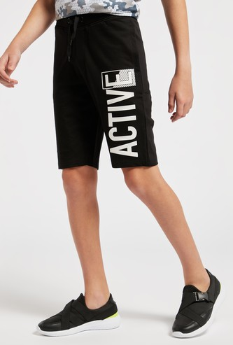 Printed Shorts with Drawstring and Pockets