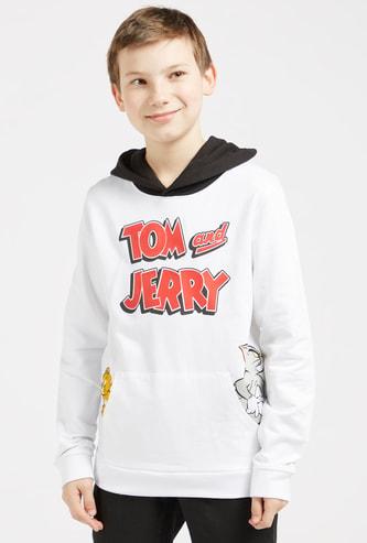 سويت شيرت بأكمام طويلة وياقة مستديرة وطبعات توم آند جيري