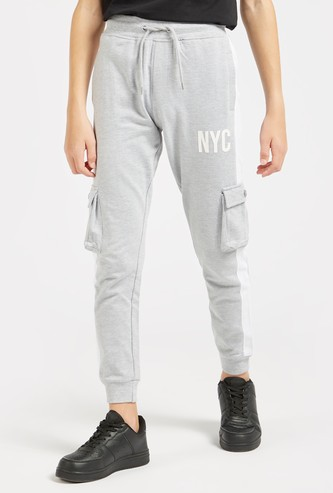 Full Length Text Print Jog Pants with Drawstring Closure