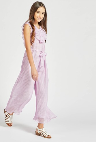 Lace Detail Sleeveless Jumpsuit with V-neck and Tie-Ups