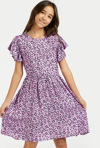 Animal Print Mini Dress with Cap Sleeves and Tie-Ups