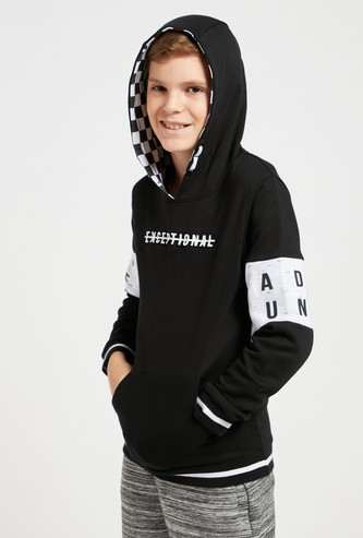 Printed Cut and Sew Hoodie with Long Sleeves and Pocket Detail