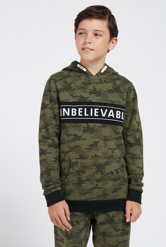 Camouflage Print Hoodie with Jacquard Panel and Long Sleeves
