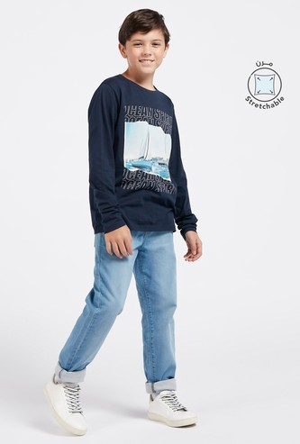 Full Length Denim Jog Pants with Pockets and Drawstring Closure