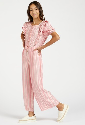 Striped Jumpsuit with Ruffle Detail and Puff Sleeves