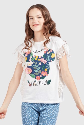 Mickey Mouse Floral Print T-shirt with Lace Detail Cap Sleeves