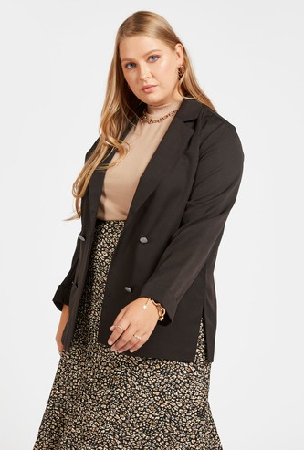 Solid Blazer with Long Sleeves and Pockets