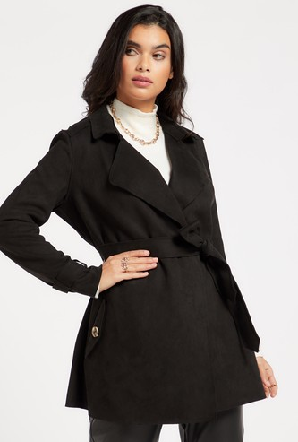 Solid Suede Trench Coat with Long Sleeves and Tie-Ups