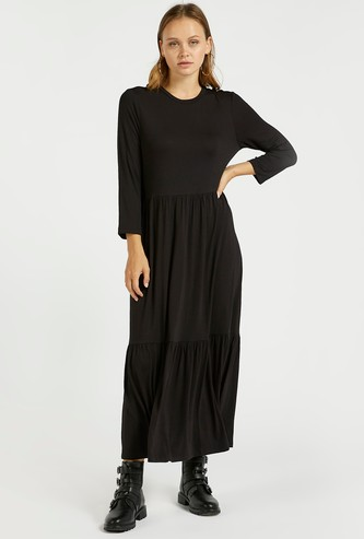 Solid Maxi Tiered Dress with Long Sleeves