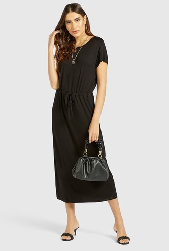 Solid Midi Dress with Round Neck and Drawstring Detail
