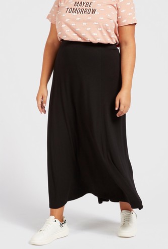 Solid A-line Midi Skirt with Elasticated Waistband