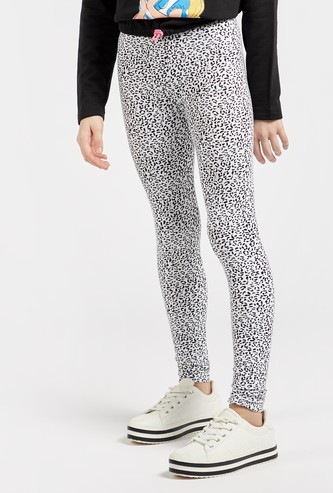 Full Length Animal Print Leggings with Elasticised Waistband