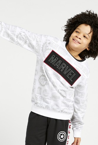 All-Over Marvel Print Sweatshirt with Round Neck and Long Sleeves