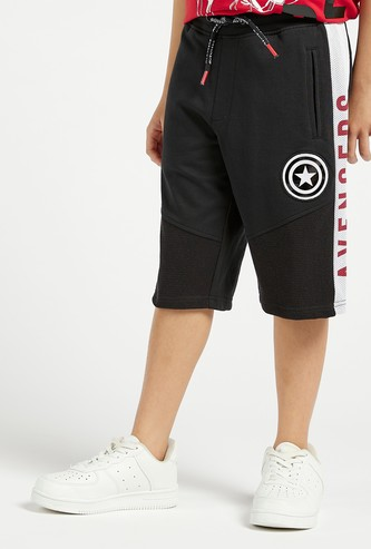 Avengers Graphic Print Shorts with Pockets and Mesh Detail