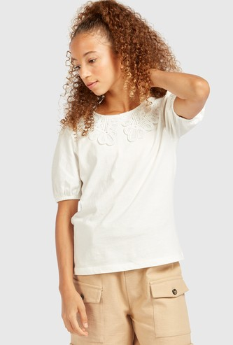 Solid Round Neck Top with Short Sleeves and Lace Detail