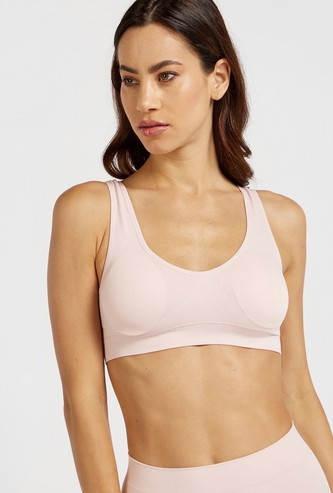 Solid Seamless Bra with Scoop Neck and Elasticised Hem