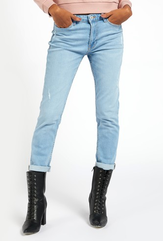 Slim Fit Distressed Mid-Rise Cropped Jeans with Pockets and Folded Hem