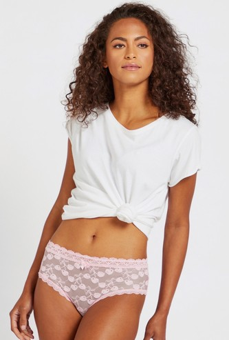 Lace Detail Brazilian Briefs with Elasticised Waistband