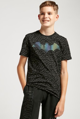 Reflective All-Over Batman Print Round Neck T-shirt with Short Sleeves