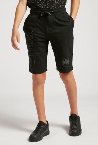 Batman Reflective Print Shorts with Pockets and Drawstring Closure