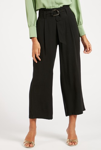 Solid Pleated Culottes with Buckle Tie Detail and Pockets
