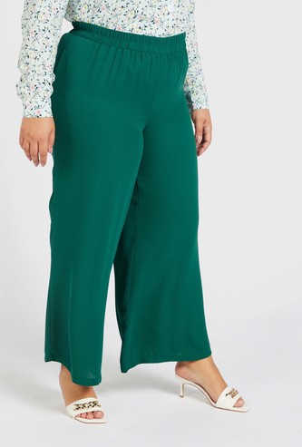 Solid Palazzo with Elasticised Waistband