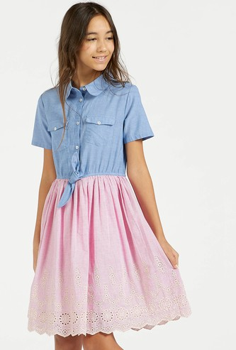 Schiffli Detail Dress with Short Sleeves and Knot Detail