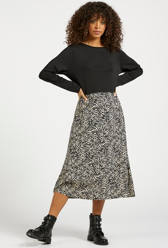 Printed 2-in-1 Midi A-line Dress with Long Sleeves