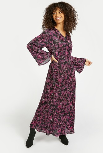 Printed A-line Maxi Wrap Dress with Flared Long Sleeves