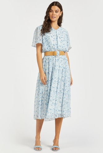 Floral Print Pleated Midi Dress with Ring Detail Belt