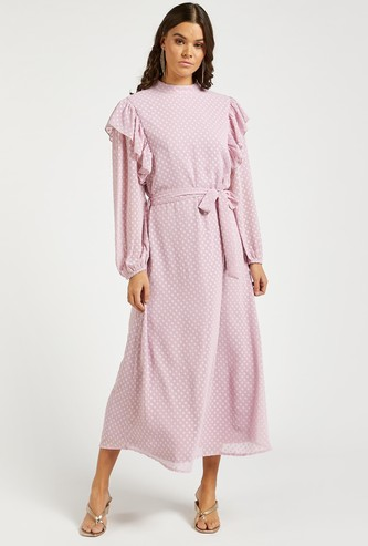 Textured Maxi A-line Dress with Frill Detail and Long Sleeves