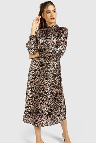 All-Over Animal Print Midi A-line Dress with Bishop Sleeves and Belt