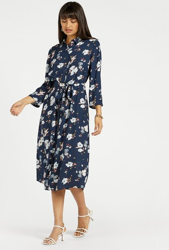All-Over Floral Print Shirt Midi Dress with Long Sleeves and Tie-Ups
