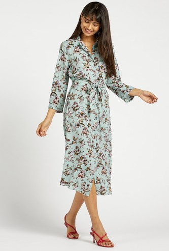 All-Over Floral Print Shirt Midi Dress with 3/4 Sleeves and Tie-Ups