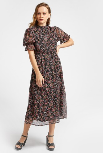 Floral Print Midi A-line Dress with Pie Crust Neck and Short Sleeves