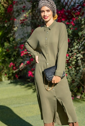 Solid Tunic with Long Sleeves and Button Closure